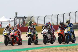 Marc Marquez, Repsol Honda Team, Cal Crutchlow, Team LCR Honda, proefstart