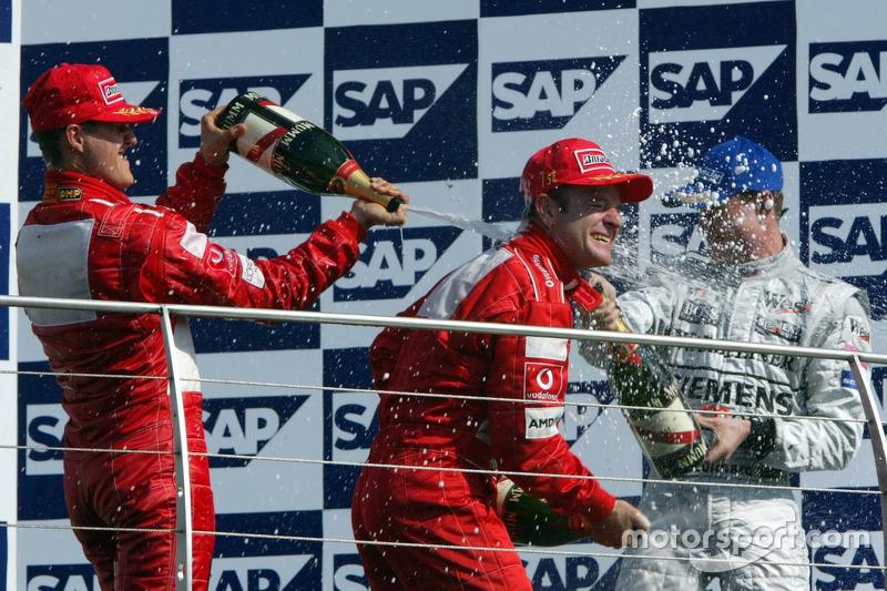 Podium: Michael Schumacher, Ferrari; Rubens Barrichello, Ferrari; David Coulthard, McLaren