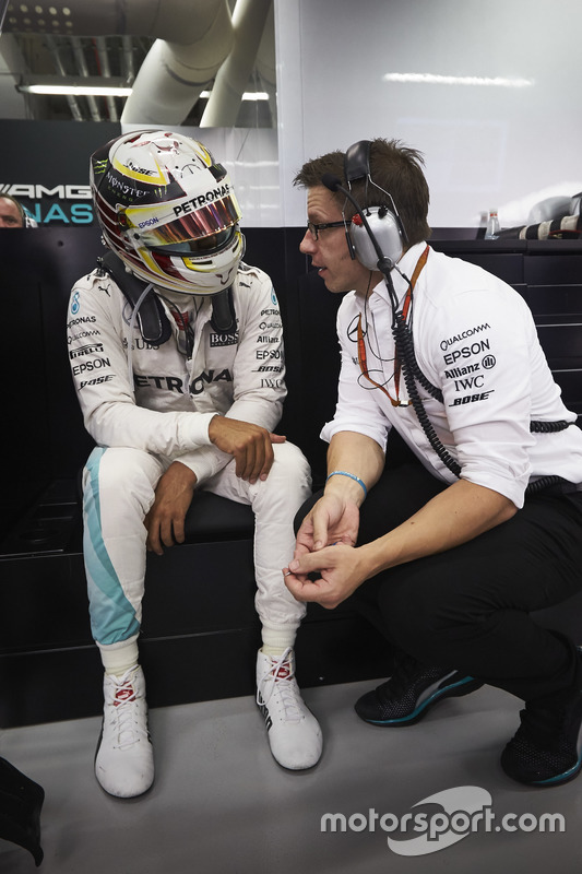 Lewis Hamilton, Mercedes AMG F1 W07 Hybrid with Toto Wolff, Mercedes AMG F1 Shareholder and Executive Director