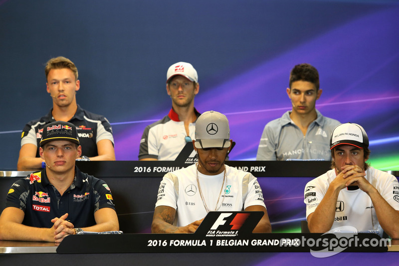 Max Verstappen, Red Bull Racing, Lewis Hamilton, Mercedes AMG F1 Team and Fernando Alonso, McLaren Honda at FIA Press Conference