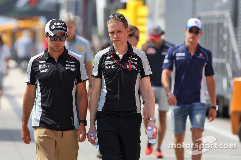 Sergio Perez, Sahara Force India F1 with Will Hings, Sahara Force India F1 Press Officer