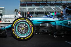 Pirelli tyre and aero detail of Lewis Hamilton, Mercedes-Benz F1 W08