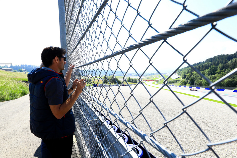 Mark Webber observa a Marc Márquez, probando un monoplaza Toro Rosso F1