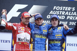 Podium: Race winner Giancarlo Fisichella, Renault F1 Team, second place Rubens Barrichello, Ferrari,