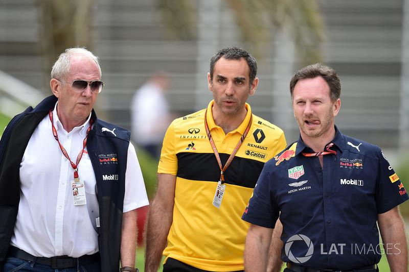 Dr Helmut Marko, Red Bull Motorsport Consultant, Cyril Abiteboul, Renault Sport F1 Managing Director and Christian Horner, Red Bull Racing Team Principal