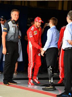 Sebastian Vettel, Ferrari with Billy Monger, in parc ferme