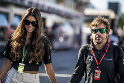 Fernando Alonso, McLaren, his girlfriend Linda Morselli