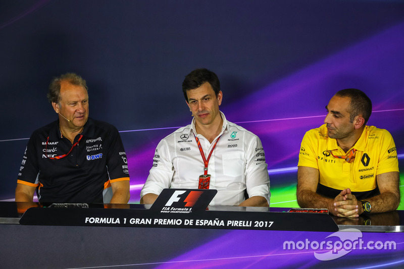 Robert Fearnley, Sahara Force India F1 Team Deputy Team Principal, Toto Wolff, Mercedes AMG F1 Director of Motorsport and Cyril Abiteboul, Renault Sport F1 Managing Director in the Press Conference