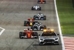 The Safety Car leads Sebastian Vettel, Ferrari SF70H, Valtteri Bottas, Mercedes F1 W08, Daniel Ricciardo, Red Bull Racing RB13, Lewis Hamilton, Mercedes F1 W08
