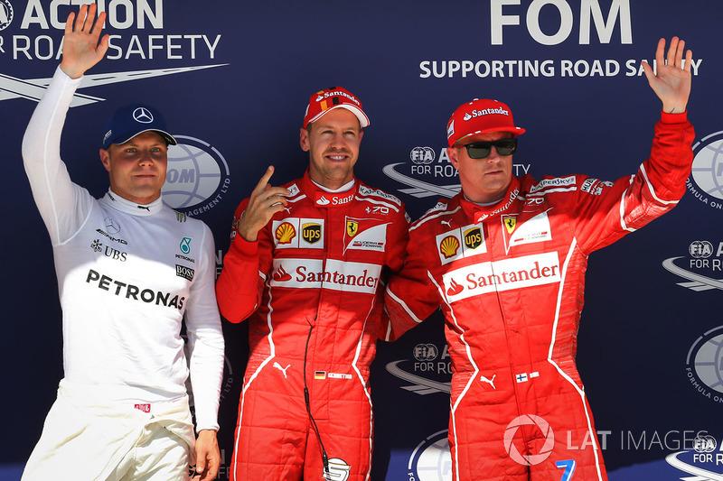 Володар поул-позиції Себастьян Феттель, Ferrari, друге місце Кімі Райкконен, Ferrari, третє місце Валттері Боттас, Mercedes AMG F1