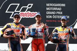 Podium : le deuxième Marc Marquez, Repsol Honda Team, le vainqueur Andrea Dovizioso, Ducati Team, le troisième Dani Pedrosa, Repsol Honda Team
