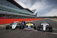 Pastor Maldonado, a Williams FW08, FW11 and a Williams FW40