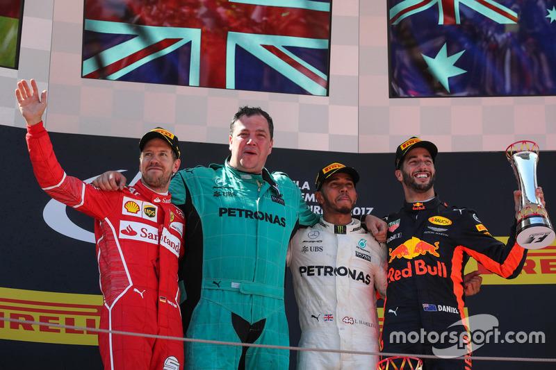 Spanish GP - Winner: Lewis Hamilton, 2. Sebastian Vettel, 3. Daniel Ricciardo