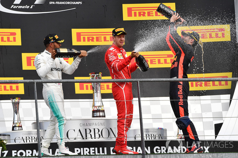 Podium: Race winner Lewis Hamilton, Mercedes AMG, second place Sebastian Vettel, Ferrari, third place Daniel Ricciardo, Red Bull Racing