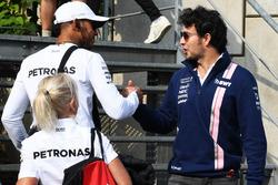 Lewis Hamilton, Mercedes AMG F1 und Sergio Perez, Sahara Force India