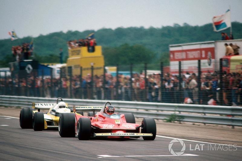 Gilles Villeneuve, Ferrari 312T4, René Arnoux, Renault RS10