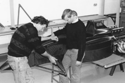Gary Anderson, left, during assembly of the Jordan 191