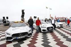 Paul Di Resta, Mercedes-AMG Team HWA, Mercedes-AMG C63 DTM, Loic Duval, Audi Sport Team Phoenix, Audi RS 5 DTM, Maxime Martin, BMW Team RBM, BMW M4 DTM con los safety cars