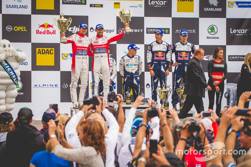 Podio: al secondo posto Andreas Mikkelsen, Anders Jäger, Citroën C3 WRC, Citroën World Rally Team