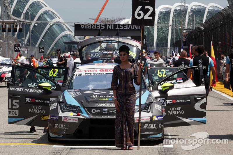 Grid girl of Dusan Borkovic, Seat Leon, B3 Racing Team Hungary