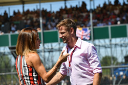 Jenson Button, talking with Natalie Pinkham, Sky TV on the Drivers parade