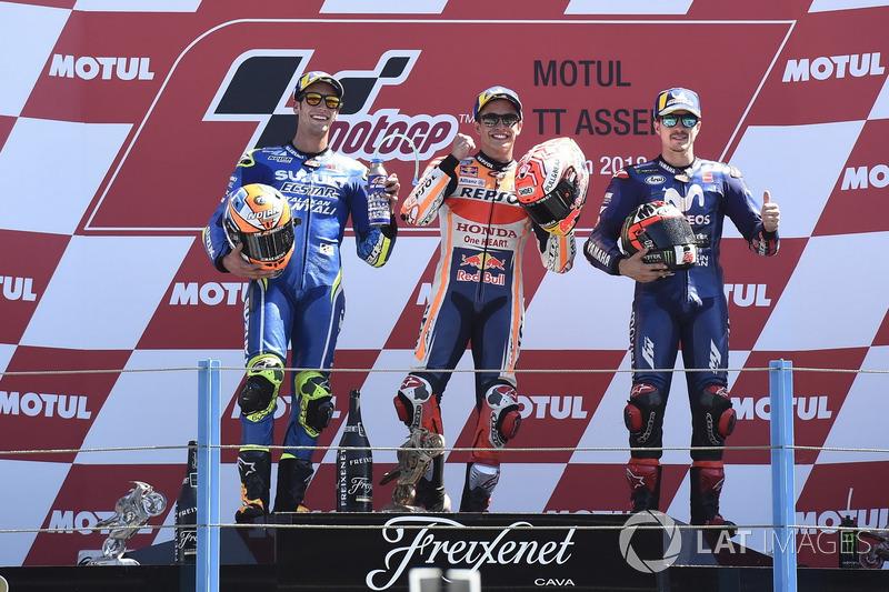 Podyum: 2. Alex Rins, Team Suzuki MotoGP, Yarış galibi Marc Marquez, Repsol Honda Team, 3.Maverick Viñales, Yamaha Factory Racing