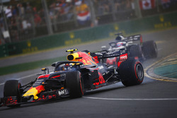Max Verstappen, Red Bull Racing RB14 Tag Heuer, spins in the path of Romain Grosjean, Haas F1 Team VF-18 Ferrari