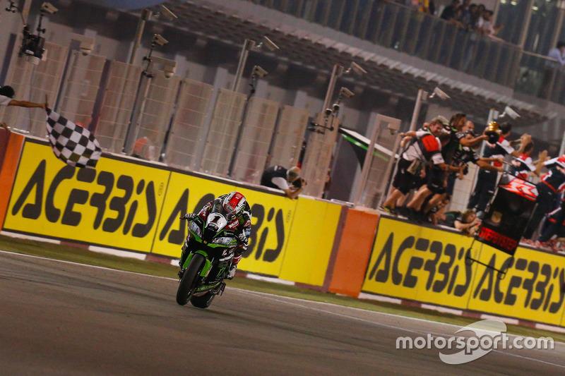 Bandera a cuadros para Jonathan Rea, Kawasaki Racing