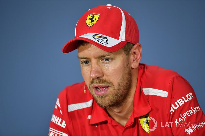 Sebastian Vettel, Ferrari, en la conferencia de prensa