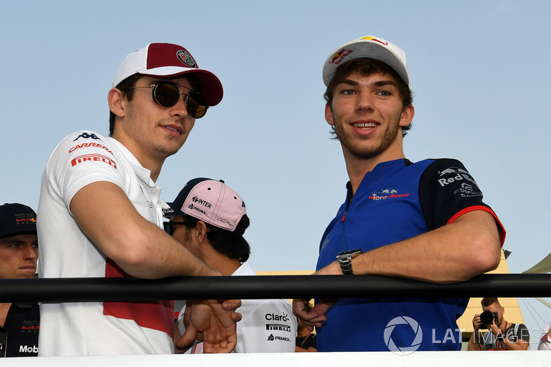 Charles Leclerc, Sauber and Pierre Gasly, Scuderia Toro Rosso on the drivers parade