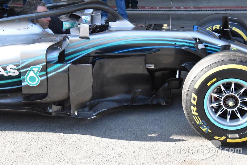 Mercedes-AMG F1 W09 detalle de los pontones