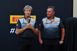 Roberto Boccafogli, Capo delle Comunicazioni F1 Pirelli e Mario Isola, Direttore Sportivo Pirelli alla presentazione delle Pirelli 2018