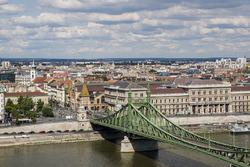 Een beeld van de Liberty Brug en Danube Rivier