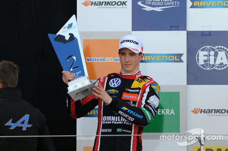 Podium: second place Joel Eriksson, Motopark, Dallara F317 – Volkswagen
