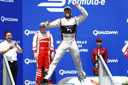 Sam Bird, DS Virgin Racing, celebrates on the podium after winning the race