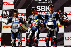Podium: race winner Federico Caricasulo, GRT Yamaha Official WorldSSP Team, second place Decha Kraisart, Yamaha Thailand Racing Team, third place Niki Tuuli, Kallio Racing