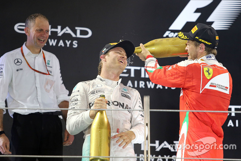 Podium: 2. Nico Rosberg, Mercedes AMG F1; 3. Sebastian Vettel, Ferrari