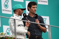 Lewis Hamilton, Mercedes AMG F1 and Mark Webber, on the podium