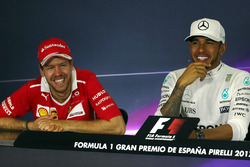 Pressekonferenz: 1. Lewis Hamilton, Mercedes AMG F1; 2. Sebastian Vettel, Ferrari