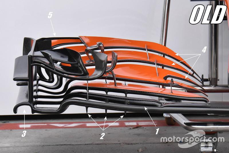 Detalle del alerón delantero viejo del McLaren MCL32
