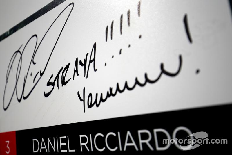 Unterschrift von Daniel Ricciardo, Red Bull Racing