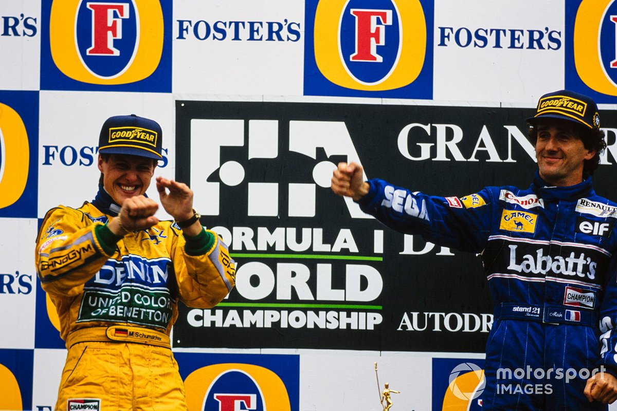 Schumacher and Prost together on the podium for the first time after the 1993 San Marino GP.