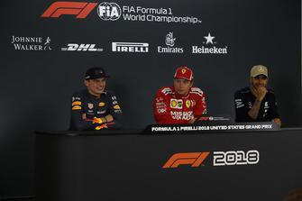 (L to R): Max Verstappen, Red Bull Racing, Kimi Raikkonen, Ferrari and Lewis Hamilton, Mercedes AMG F1 in Press Conference