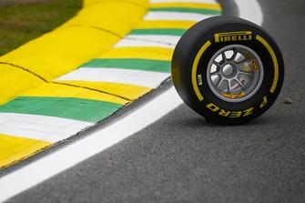 A Pirelli tyre on the circuit