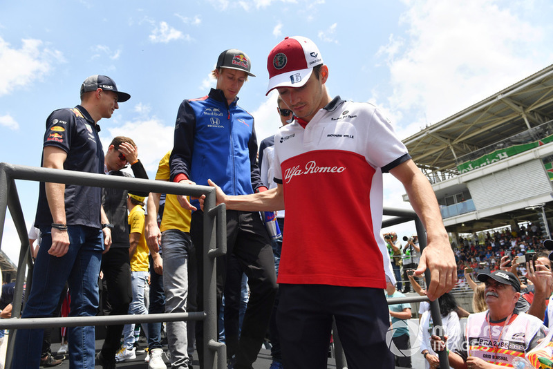 Charles Leclerc, Alfa Romeo Sauber F1 Team, Brendon Hartley, Scuderia Toro Rosso and Max Verstappen, Red Bull Racing on the drivers parade