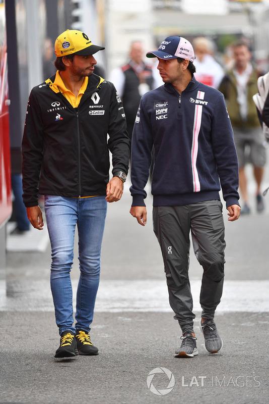 Carlos Sainz Jr., Renault Sport F1 Team y Sergio Perez, Racing Point Force India F1 Team