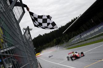 Checkered flag for Mick Schumacher, PREMA Theodore Racing Dallara F317 - Mercedes-Benz