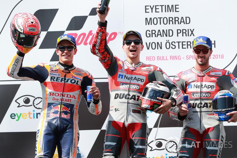 #11 GP de Austria - Podio: Jorge Lorenzo, Marc Márquez, Andrea Dovizioso