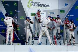 Podium: race winners Marcel Fässler, Andre Lotterer, Benoit Tréluyer, Audi Sport Team, second place, Romain Dumas, Neel Jani, Marc Lieb, Porsche Team, third place, Stéphane Sarrazin, Mike Conway, Kamui Kobayashi, Toyota Racing
