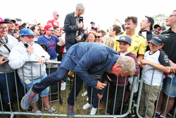 Johnny Herbert, Sky Sports F1 Presenter and Damon Hill, Sky Sports Presenter with fans at the Sahara Force India F1 Team Fan Zone at Woodlands Campsite